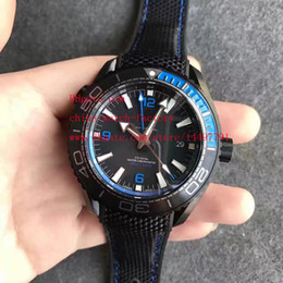 Wholesale Watch Pvd Movement - Luxury High Quality Watch JH Factory Black PVD Coating CAL.8906 Movement Blue 45.5mm Planet Ocean 600M GMT Automatic Mens Watch Watches
