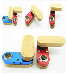 Wholesale Monkey Pipes - Folding Wooden Pipe Similar as Tobacco Cigarette Monkey Pipe Hand Portable Vaporizer Foldable Wood&Metal Smoking Pipe