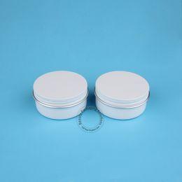 Wholesale Metal Cans Lids - 10pcs Lot High Quality 50g Epmty Aluminum Cream Jar Women Cosmetic 50ml Facial Cream Jar Lady White Lid Refillable Screw Can