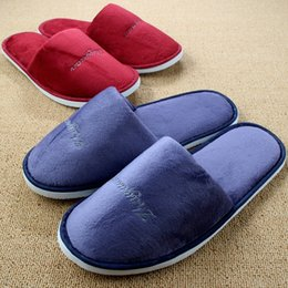Wholesale Canvas Slippers For Men - Wholesale-Casual Couple Home Shoes New Women Indoor Slippers For Men Winter Warm Coral Fleece Plush Pantofole Hotel Chinelos Homem Pantufa