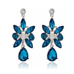 Araña de cristal swarovski online-Cristal Austriaco Rhinestone Azul Cuelga Araña Stud Pendientes Pendientes Clase de Moda Mujeres Niñas Señora Swarovski Elements Joyería