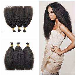 Wholesale Straight Bulk Hair For Braiding - G-EASY human braiding hair for black women natural black peruvian kinky straight hair bulk no shedding