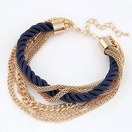 Wholesale Rope Dress Sale - Hot Sale Trendy Charm Bracelets Hand Weave Rope Chain Multilayer Chains Wrap Bracelet for Women Dresses Accessories Gold Plated