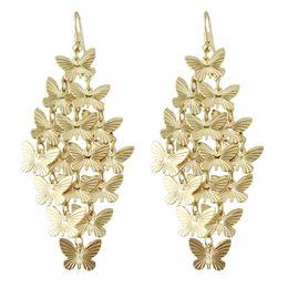 Wholesale Butterfly Dangle - Lovely design elegant gold color butterfly design drop earrings for women