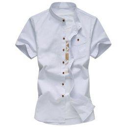 66b459925f Venta caliente 2017 Nueva Moda Camisa de Manga Corta Para Hombre de Alta  Calidad Camisa Sólida Transpirable Para Hombre Slim Fit Camisa de Lino de  Algodón ...