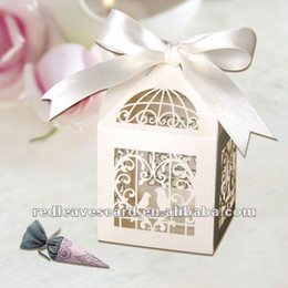"Wholesale Laser Cut Paper Birdcages - Wholesale-120pcs 2""*2""*3"" Laser Cut Birdcage Wedding Favor Box in pearlescent paper Ivory come with Ivory Ribbon"