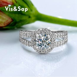 Wholesale Wholesale Gold Filled Bezel Settings - Visisap White gold Color Rings For Women wedding Engagement ring brilliant cubic zirconia Wholesale elegant micro pave VSR022