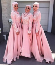 Wholesale High Neck Dresses For Women - Pink Muslim Long Bridesmaids Dresses Long Sleeve Satin Appliques Lace A-line Fashion High Neck Evening Gowns For Irabic Women