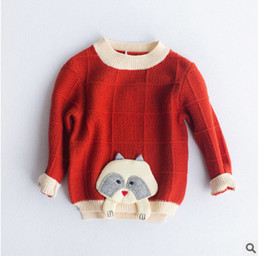 Wholesale Dog Children Clothing - Children knitting sweater fashion 2017 autumn winter girls cotton small dog long sleeve pullover kids Korean style clothes C0858