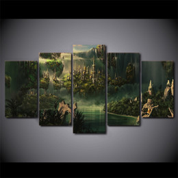 Wholesale Free Pictures Prints - HD Printed 5 Piece Canvas Art Lord of the Rings Painting Mysterious Ancient Country Decorative Pictures Free Shipping