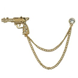 Wholesale Cool Brooches - Wholesale- Man Cool Design Metal Gold Plating Gun Brooch Pin Unisex Fashion Costume Accessory With Chain