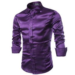Платье с дизайном одежды для мужчин онлайн-Wholesale- New Men Shirt Long Sleeve Chemise Homme 2016 Fashion Design Purple Mens Silk Shirt Slim Tuxedo Dress Shirts  Camisa Social