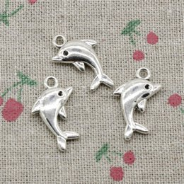 Wholesale Dolphin Silver - 55pcs Charms Jewelry lovely dolphin 23*13mm pendant Zinc Alloy Ancient Sliver DIY Craft Necklace Bracelet Accessories