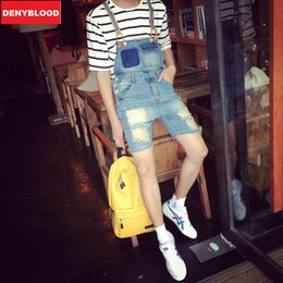 Wholesale Straight Loose Jumpsuit - Wholesale- Men's Distressed Jeans Ripped Darked Wash Jeans Straight Fit Denim Overalls Bibs Jumpsuits Shorts Male Casual Shorts 258