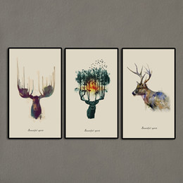 Wholesale Elk Painting - 3 Panels Triptych Watercolor Animal Beautiful Deer Art Prints Elk Wall Picture Canvas Painting Kids Room Home Decor Unframed