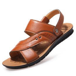 Wholesale Mint Ties - 2017 new Summer all-match Men's Dual purpose Genuine leather Slipper Sandals Varied colors to choose from Men's beach shoes