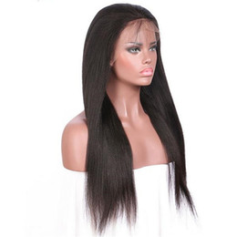 Wholesale Yaki Lace Front Brazilian 1b - Stock lace front wig 1b yaki straight 100 indian human hair baby hair around full lace wigs free shipping