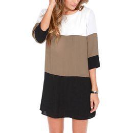 Wholesale tunic shift dress - Wholesale- Hot Sale VINtage Spring Women Dress Contrast Color Blocks Chiffon Half Sleeves Shift Tunic Plus Size Women Clothing