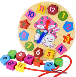Wholesale Wooden Clock Puzzle - Baby Kids Childrens Education Wooden Puzzle Toys Wooden Digital Clock Jigsaw Toy Geometry Stacking Toys Wholesale