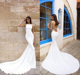 Wholesale Wedding Dresses Embroidered Shoulders - 2017 sexy wedding dress bateau shoulder simple satin sexy leak back luxury squeaky tail bridal gowns
