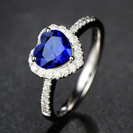 Wholesale 925 Rings Blue Heart - Full Diamond fashion Blue stone 925 silver Ring brand new light blue heart gemstone sterling silver finger rings