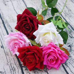 "Wholesale Single Stem Roses - Velvet Single Stem Angle of Rose 21cm 8.27"" Length Artificial Flowers Roses for Home Xmas Showcase Decorative Flower Wedding Centerpieces"