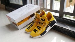 Wholesale Pvc Cans - 2017 Cheap New Human Race NMD Truth Boost laces Can Reflect light White Yellow BB0619 For Mens Running Sports Shoes ship with box Size 36-45