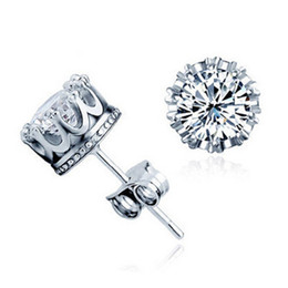 Wholesale Mans Earrings - 925 Sterling silver Cubic Zirconia Crown Wedding Stud Earrings Simulated Diamonds Engagement Beautiful Crystal Ear Rings For Man&Women