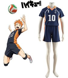 Wholesale Female Costumes Men - Haikyu!! Shoyo Hinata Karasuno High School Volleyball Team Uniform Number10 Anime Cosplay Costume