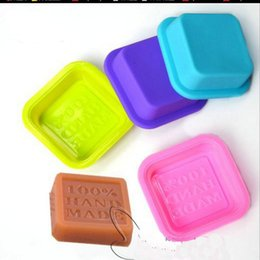 Wholesale wholesale silicone mold baking - Delicate Cute Craft Art Square Silicone Oven Handmade Soap Molds DIY Soap Mold Baking Moulds Random Color