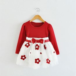 Wholesale Toddler Ball Gown Pattern - Wholesale- Fashion Infant Kids Clothes Costume Wedding Birthday Dresses For Toddler Baby Floral Pattern Long Sleeve Dress 24 months