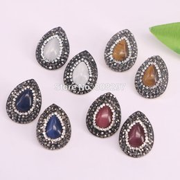 Wholesale Water Stone Color - 6Pair Mixed Color Cat Eye Stone Earrings, Pave Rhinestone Water Drop Shape Gems Stud Earrings Fashion Jewelry