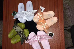 Wholesale Leather Straps For Shoes - 2017 Fenty Rihanna Shoes slippers Mix colors for women With Box Dust bag 2017 Fashion ladies summer bowtie Slide Sandals flip flops.