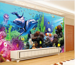 Wholesale Wall Aquariums - Photo any size Underwater World Aquarium 3D 3D Tropical Fish TV Wall mural papers for tv backdrop