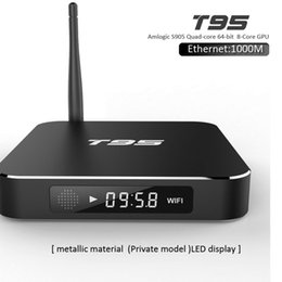 Wholesale Android Root - T95 Android 4K TV Box Amlogic S905 Quad Core kd 17.1 Rooted Smart TV Box WIFI 1GB 8GB Ethernet 1000M H.265 Streaming Media Player