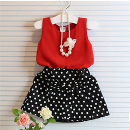 Wholesale Top Baby Bows - New children Dot outfits baby girls Chiffon top+Dot Bow Short skirt 2pcs set kids summer suit C2429