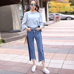 Wholesale Ladies Torn Jeans - Wholesale- 2017 Women Torn Jeans Embroidery Jeans Plus Size Women's Vintage 2017 Ladies Blue Denim Pants Casual Pencils Fashion Brand