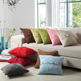Wholesale Cover Pillows China - 2017 Hot Retro buttons Throw Pillow knitted Cover Cushion Home Decor Personalized Case 18x18inches Made in China.