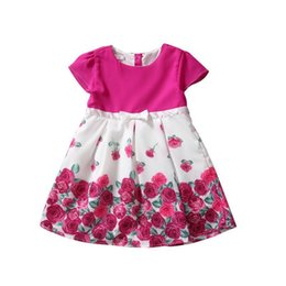 Wholesale Tencel Baby - Sweet Rose Dresses for Baby Girls Short Sleeved A Line Boat Neck Lolita Style Children Dresses