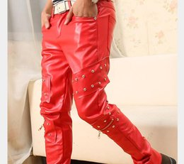 Wholesale Hiphop Beads - Wholesale-Fahion hiphop leather sweatpants men leather Jogging pants faux red leather joggers