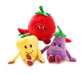 Wholesale Vegetables Toys - Cute cartoon fruit and vegetable pear dolls tomato eggplant Knuffel plush toys onion garlic early education doll baby