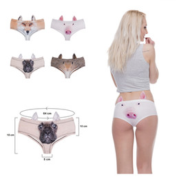 Wholesale New Culotte - 4 colors 2017 New fashion 3D Printed British Kittty Animal Fox Sexy Underwear Women Calcinha Feminina Culotte Femme With Ears