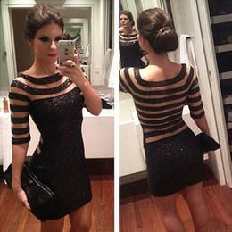 Wholesale Unique Vintage Clothes - Big Size 2017 New women clothes dress dresses with Sparkly Sequins Stripe Appliques Long Sleeve women dress Luxury Unique Free Shipping