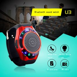 Wholesale Led Colored Watches - U3 watch bluetooth audio box outdoor exercise hands-free card anti - selfie small acoustics 7 - colored LED run flashing lights