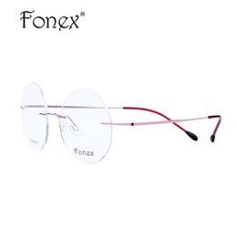 vetri incorniciati rossi all'ingrosso Sconti All'ingrosso-FONEX 2017 nuove donne / donne rotondi occhiali senza montatura occhiali ultra leggeri memoria titanio miopia montatura da vista rosa / viola / rosso