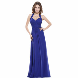 Wholesale Sexy Ma - Sapphire Blue Prom Dress A Line Ever Pretty New Arrival Sexy Empire Halter Long Maxi Sleeveless Long Prom Dresses 2017 Many Colors Custom Ma