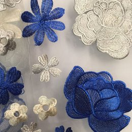 Wholesale Embroidery Curtain Fabric - 5 yards Embroidery Net Lace Fabric Beautiful Wedding Dress Sweep Sleeves Sheer Doll Curtain Bedding Sewing Accessories Notions