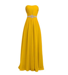 Wholesale Country Evening Dresses - Charming 2017 A-Line Pleated Yellow Country Bridesmaid Dresses Strapless Neck Beaded Long Formal Dresses Evening Gowns Wedding Guest Dress