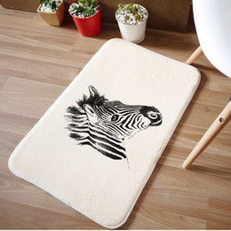 Wholesale Pattern Bath Rugs - Wholesale- Home decoration doormat Bath Mats Bathroom Zebra pattern Absorbent Non-slip rug Cartoon Mats 50*80cm