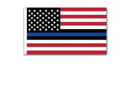 Banderas deportivas online-Moda delgada línea azul bandera de EE. UU. Bandera de rayas de estrellas americanas de EE. UU. 150 cm * 90 cm 3 * 5 pies bandera de poliéster bandera deportiva
